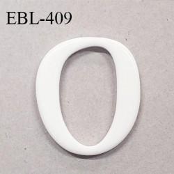 Boucle de réglage 33 mm en pvc blanc brillant largeur intérieur 33x19 mm largeur totale 40x35 mm prix à l'unité