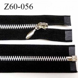 Fermeture zip à glissière métal  longueur 60 cm couleur noir séparable largeur 3 cm largeur de glissière 5.5 mm