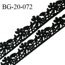 Galon ruban guipure 20 mm motif fleurs couleur noir largeur 10 mm prix au mètre