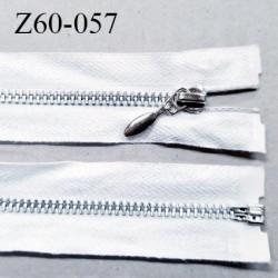 Fermeture zip à glissière métal  longueur 60 cm couleur naturel séparable largeur 3 cm largeur de glissière 5.5 mm
