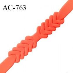 Ceinture double 25 mm pour ceinture ou bretelle ou autres couleur nectarine style néoprène extensible prix à l'unité
