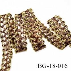 Galon passementerie lurex 20 mm couleur vieille or et bronze brillant largeur 18 mm prix au mètre