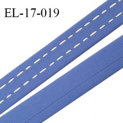 Elastique 17 mm bande ou bretelle couleur bleu myosotis avec surpiqûres blanches fabrication européenne prix au mètre