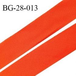 Biais à plat 28 mm à plier en polycoton couleur orange largeur 28 mm prix au mètre