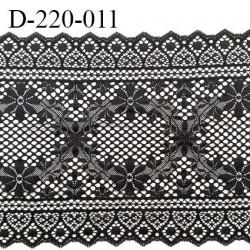 Dentelle 22 cm lycra brodée très haut de gamme largeur 22 centimètres couleur noir très belle prix au mètre