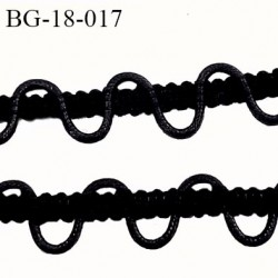 Galon ruban boutonnière avec du cordon coton ciré largeur 18 mm couleur noir  prix au mètre
