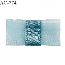 Noeud lingerie 24 mm haut de gamme en mousseline mate et centre satin couleur bleu polaire prix à l'unité