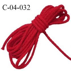 Cordon 4 mm en coton très solide couleur rouge diamètre 4 mm prix au mètre