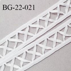 Galon ruban 22 mm en polyamide avec croisillons en satin couleur blanc prix au mètre