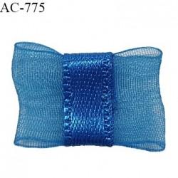 Noeud lingerie 20 mm haut de gamme en mousseline mate et centre satin couleur bleu royal prix à l'unité