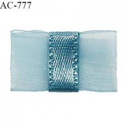 Noeud lingerie 20 mm haut de gamme en mousseline mate et centre satin couleur bleu polaire prix à l'unité