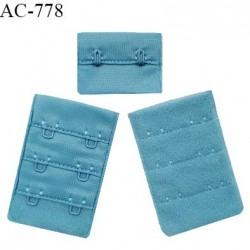 Agrafe 38 mm attache SG haut de gamme couleur bleu polaire 3 rangées 2 crochets fabriqué en France prix à l'unité