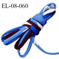 Cordon élastique 8 mm ou cache armature underwire casing galon couleur bleu pourpre et blanc lycra extensible prix au mètre