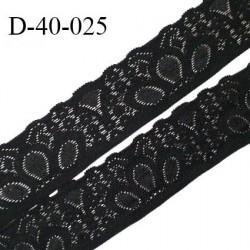 Dentelle 40 cm lycra extensible couleur noir largeur 40 cm prix au mètre