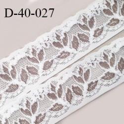 Dentelle 40 mm lycra extensible couleur blanc et bronze motifs fleurs largeur 40 mm prix au mètre