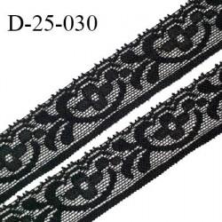 Dentelle 25 mm lycra extensible motifs fleurs couleur noir largeur 25 mm prix au mètre