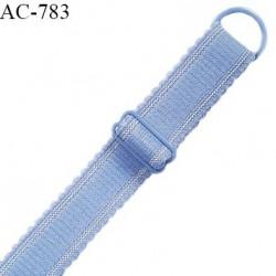 Bretelle 16 mm lingerie SG couleur bleu ciel très haut de gamme finition avec 1 barrette + 1 anneau prix à la pièce