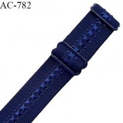Bretelle lingerie SG 24 mm très haut de gamme couleur bleu nuit avec 2 barrettes prix à l'unité