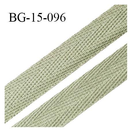 Biais sergé 15 mm galon 100 % coton couleur vert pâle largeur 15 mm souple et très doux prix au mètre
