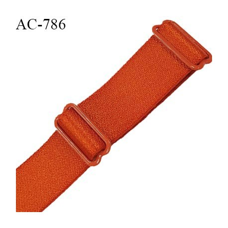 Bretelle 19 mm lingerie SG haut de gamme grande marque couleur orange cuivrée finition avec 2 barrettes prix à la pièce