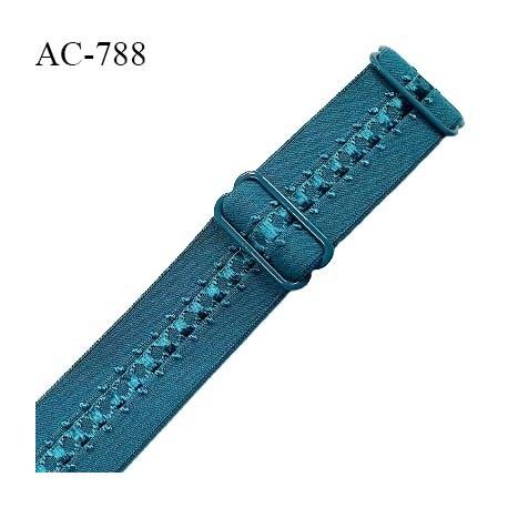 Bretelle lingerie SG 24 mm très haut de gamme couleur bleu vert (vertigo) avec 2 barrettes prix à l'unité