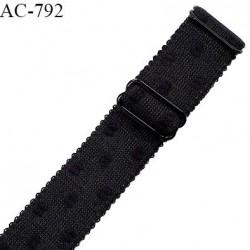 Bretelle lingerie SG 24 mm très haut de gamme couleur noir avec plumetis avec 2 barrettes prix à l'unité