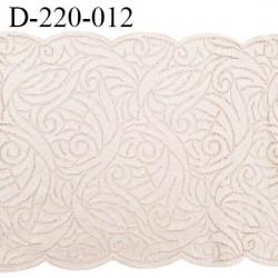 Dentelle 22 cm lycra brodée extensible très haut de gamme couleur blush fabriqué en France bandes jacquard prix au mètre