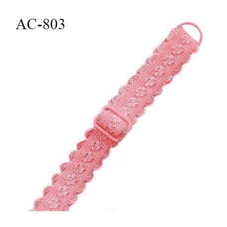 Bretelle lingerie SG 16 mm très haut de gamme couleur fraise avec 1 barrette et 1 anneau prix à l'unité