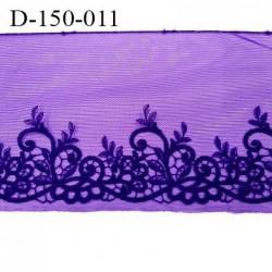 Dentelle broderie sur tulle 14 cm très haut de gamme largeur 14 cm couleur violet amethyste très belle prix au mètre