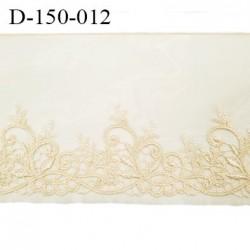 Dentelle broderie sur tulle 14 cm très haut de gamme largeur 14 cm couleur ivoire très belle prix au mètre