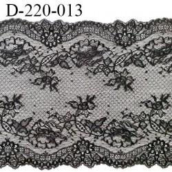 Dentelle 22 cm lycra extensible motif fleuri haut de gamme couleur noir très belle prix au mètre