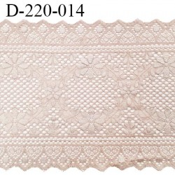 Dentelle 22 cm lycra brodée extensible très haut de gamme bandes jacquard couleur beige rosé ou rose sauvage prix au mètre