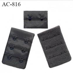 Agrafe 38 mm attache SG haut de gamme couleur gris sombre 3 rangées 2 crochets fabriqué en France prix à l'unité