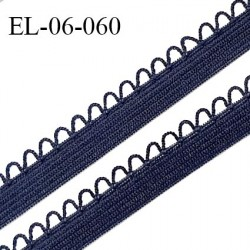 Elastique 6 mm lingerie haut de gamme fabriqué en France élastique souple couleur bleu denim prix au mètre