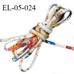 Cordon élastique 5 mm ou cache armature underwire casing galon couleur blanc avec motifs pastel lycra extensible prix au mètre