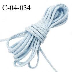 Cordon 4 mm en coton très solide couleur bleu ciel diamètre 4 mm prix au mètre