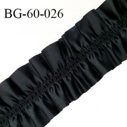 Biais galon 60 mm ruban élastique froufrou couleur noir effet satin largeur 60 mm prix au mètre