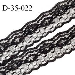 Dentelle 35 mm motifs fleurs couleur noir largeur 35 mm prix au mètre