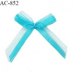 Noeud lingerie 32 mm haut de gamme en satin sur mousseline couleur bleu horizon largeur 32 mm hauteur 40 mm prix à l'unité