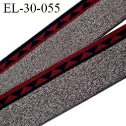 élastique 30 mm spécial lingerie, sport  caleçon couleur gris chiné bordeaux et bleu marine oeko-tex prix au mètre