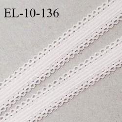 Elastique 10 mm lingerie haut de gamme couleur rose pâle largeur 10 mm + 2 mm de picots de chaque côté prix au mètre