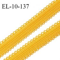 Elastique 10 mm lingerie haut de gamme couleur jaune ocre largeur 10 mm + 2 mm de picots de chaque côté prix au mètre