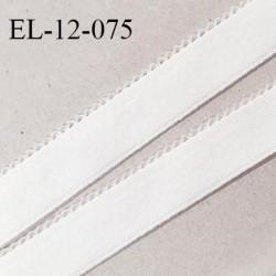 Elastique 12 mm lingerie haut de gamme couleur blanc fabriqué en France largeur 12 mm + 2 mm picots prix au mètre