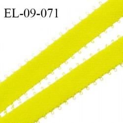 Elastique picots 9 mm couleur jaune fluo un côté brillant et un côté doux haut de gamme superbe largeur 9 mm prix au mètre