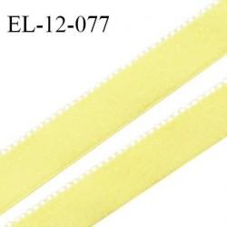 Elastique 12 mm lingerie haut de gamme couleur jaune citron fabriqué en France largeur 12 mm + 2 mm picots prix au mètre