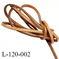Lacet plat 120cm couleur marron clair façon cuir très solide longueur 120 cm largeur 3.4 mm épaisseur 2 mm prix pour une paire