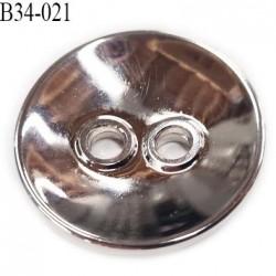 Bouton 34 mm en pvc chromé brillant 2 trous incurvé diamètre 34 millimètres épaisseur 6 mm