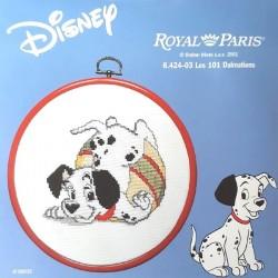kit à broder ROYAL PARIS avec tambour les 101 dalmatiens Disney
