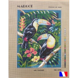 Canevas 50 x 65 cm marque MARGOT création de Paris LES TOUCANS fabrication française