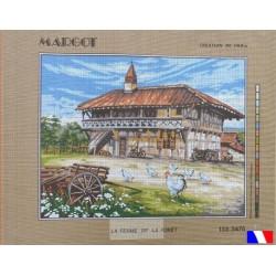 Canevas 50 x 65 cm marque MARGOT création de Paris LA FERME DE LA FORET fabrication française